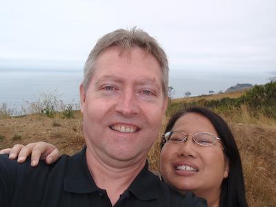 A selfie on the California coast